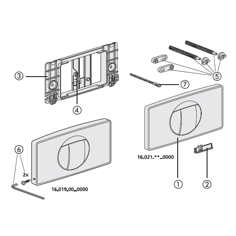 Betätigungsplatte 1M-Start-Stopp weiss für grosse Revisionsöffnung (192 x 334mm) SANIT